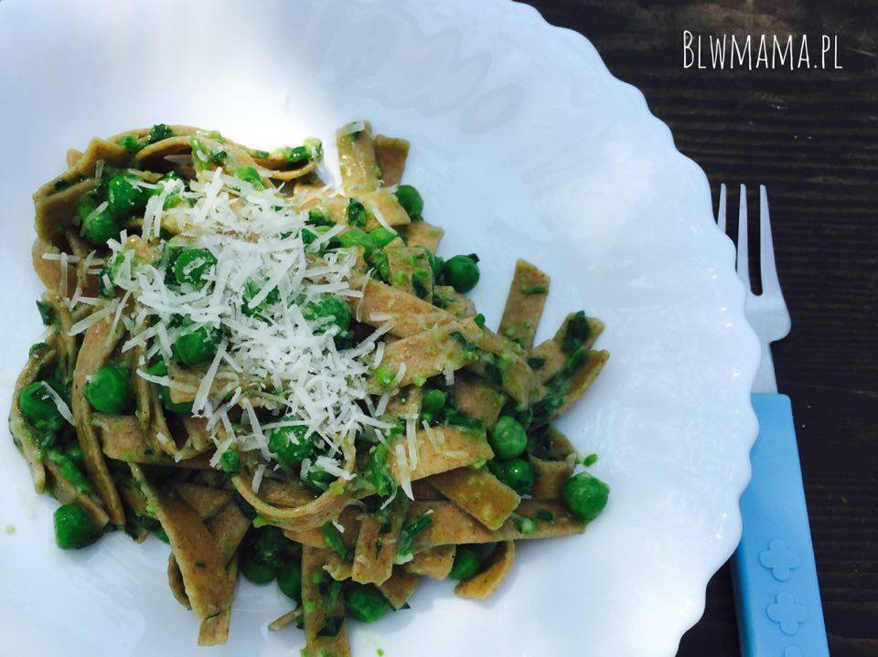 Jamie's pappardelle with peas and pecorino. Yummy & simple pasta idea. BLW