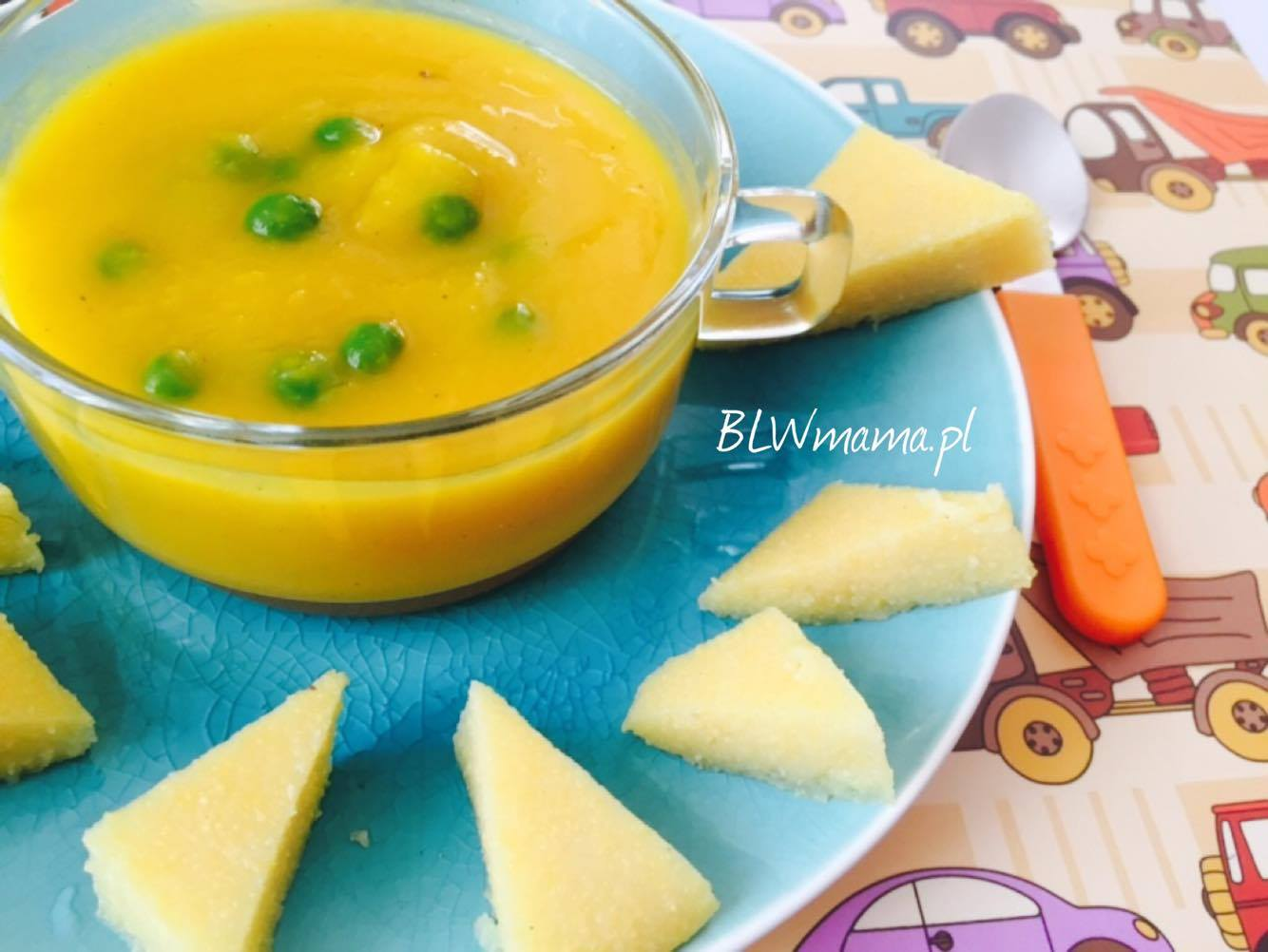 Pumpkin soup with a hint of ginger & savory polenta cubes. BLW