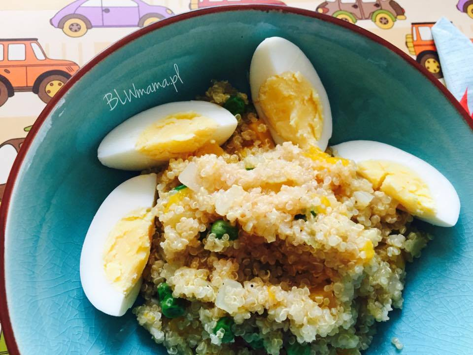 Komosa z jajkiem, groszkiem i dynią. Szybkie, łatwe danie. BLW