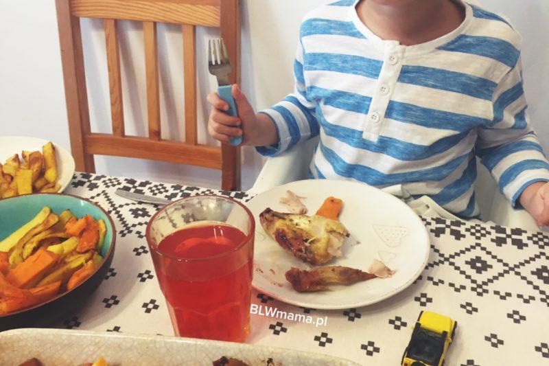 Kurczę pieczone z żurawiną, jabłkiem, gruszką, marchewką i dynią. BLW